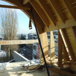 Combles avec détail du toit en berceau
